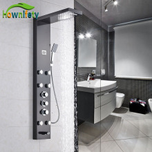 Luxury Thermostatic Bathroom Shower Panel Three Handles Shower Column with Hand Shower Oil Rubbed Bronze(China)