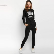 2017 Women Sexy Sporting Tracksuit Sweatshirt Women Fashion Hoodies Suits Tracksuit Print jumpsuits With Pant sudaderas mujer