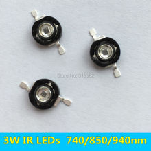 3 PCS 3W Infrared IR High Power LEDs Emitter CCTV Camera IR Diode for Security Black LEDs Red 740nm 850nm 940nm 3W 700mA(China)
