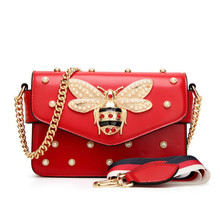 Fashion Women Messenger Bag New Brand Leather Female Shoulder Bag Luxury Diamond Little Bee Woman Handbags Strap Bags Pink Red(China)