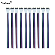 Tanbaby 10pcs/lot 12mm 5pin RGBW led strip Connector Male Extend Cable wire Cord for SMD 5050 RGBW / RGBWW Led Strip Light