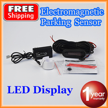 LED Display Auto Electromagnetic Parking Sensor Back-up Alarm Bumper Guard No Hole Drilled Easy Install