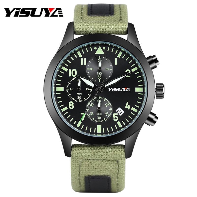 YISUYA Luxury Brand Mens Sport Quartz Watches Luminous Army Green/ Blue Nylon Watchband Chronograph Date Display Fashion Watch <br>