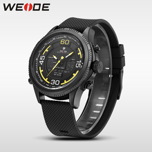 WEIDE luxury genuine sport men watch Silicone quartz watches water resistant analog watch LCD eletronicos digital clock military(China)