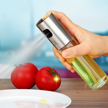 Glass Olive Spraying Oil Bottle Sprayer Stainless Steel Edible Oil Pot Leak-proof Drops Spice Jar Seasoning Kitchenware Tools(China)