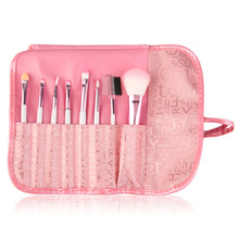8 Pieces Makeup Brush Set Comestic Brushes Pink Letter Bag Portable Cute