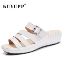 KUYUPP Summer Style 2017 Platform flip flops Wedges Slippers Buckle Gladiator Women Shoes flat Casual shoes White S214