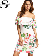 Sheinside 2016 Summer Ladies Multicolor Floral Print Ruffle Off The Shoulder Sheath Half Sleeve Mini Dress
