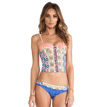 Europe and the United States women's speed to sell through ebay conjoined bikini bikini swimsuit wavy color printing