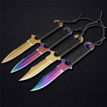 DOXA Newest Titanium Gold Titanium Rainbow Stainless Steel 440C 58HRC Military Scuba Diving Knife Camping Knife