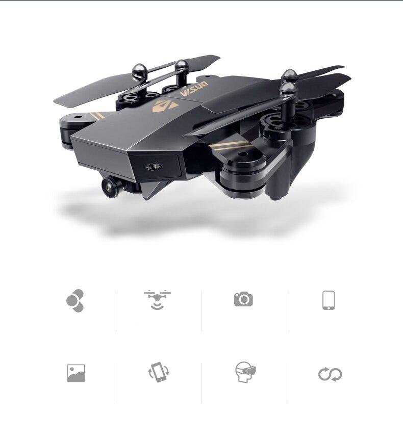 VISUO XS809HW Foldable Wifi FPV With 2MP 120 degrees FOV Wide Angle Camera Altitude Hold G-sensor Mode RC Quadcopter RTF 2.4GHz