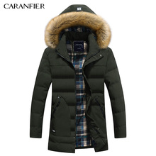CARANFIER Warm Male Parkas Coat Fashion Winter Brand Jacket Men Fur Hooded Dark Warm Men Parkas Front Pockets Quality Pilot Coat(China)
