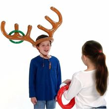 2017 Christmas Halloween New 1 PC Fashion Funny Reindeer Antler Hat Inflatable Toy Party Rings Toss Game Kid Gift(China)