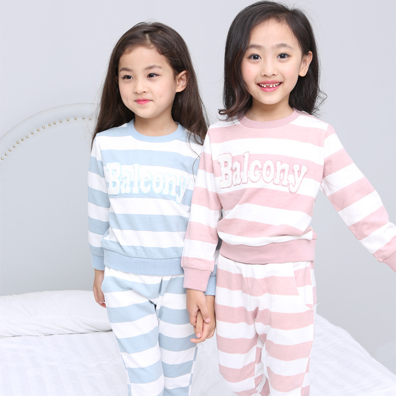 Children Pajamas Suit Korean Foreign Trade New Pattern Pure Cotton Stripe Lovely Suit Girl Home Furnishing Serve Kids Clothing<br>