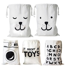 Zakka Large Cartoon Storage Bags Children Baby Play Mat Toys Clothes Organizer Kids Laundry Bag Canvas Simple Home Decor