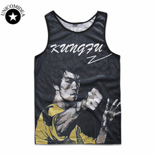 2017 boy/Men Tank Top Letter character 3d Shirt Bodybuilding tank top Fitness Men's Bruce Lee printed Tank Tops(China)