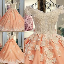 2017 Ball Gown Satin Evening Dresses Flowers Sequins Beading Scalloped-Neck Long Elegant Orange Party Prom Dress Robe De Soiree