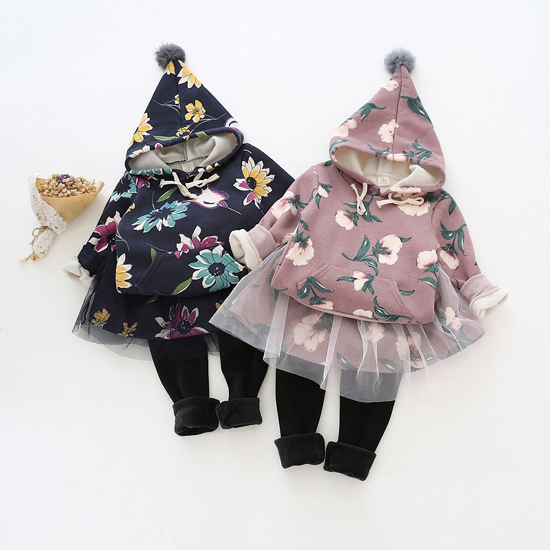 Hot Sale Winter Autumn Kids Clothes Long Sleeve Pullover Flowers Printed Suit, Hoody + Skirt Pant 2Pcs Girls Clothing Set YY2211<br><br>Aliexpress