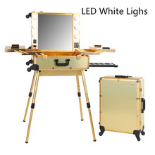 Gold LED White Lights Professional Makeup Artist Station Case Makeup Artist Train Case with Lights Beauty cosmetic Box 2016 New