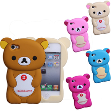 Hight quality Easily bear Rilakkuma Case 3D Cute Brown Bear Cover For iPhone 4 4S Silicone Phone Cases Capa Funda Coque Para