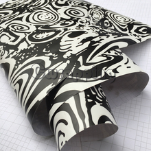 Black White Circle Camouflage Motorcycle Scooter Wrap With Air Bubble Drain Adhesive PVC Matte Camo Film Wrapping Stickers