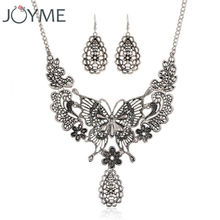 Joyme Vintage Maxi Statement Chunky Bib Necklaces Women's Costume Accessories Antique Silver Boho Butterfly Flower Necklace Set(China)