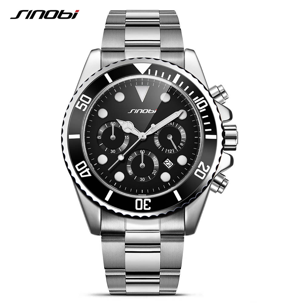 SINOBI Fashion Business Clock Watch for Men Luxury Brand Quartz Wristwatch Stainless Steel Watchband for Man<br>