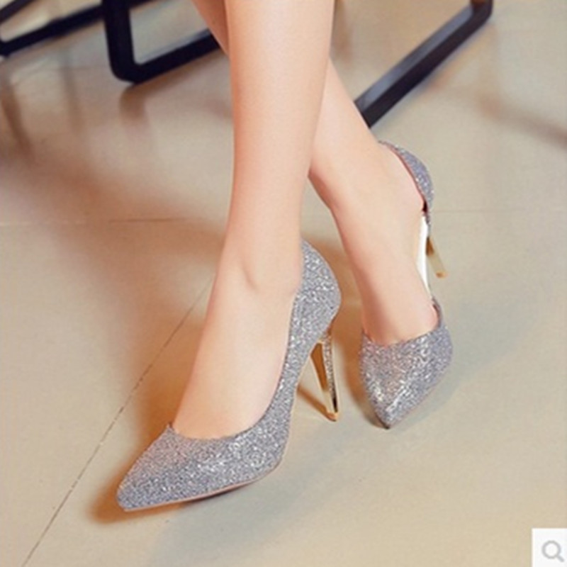 Ladys Plus size US11 12sexy Elegant Glitter Stiletto Cinderella pointed toe high heels Wedding Bride Party Shoes women pumps OL<br>