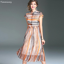 Timmiury 2017 Summer Vintage Silk Dress Women Stripe Print Beautiful Tank Dresses Retro Slim Female Party Dress Vestido Feminino(China)