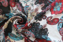 width 1.5m chiffon soft fabric paisley and flowers pattern for apparel and scarf LS-2634 for scarf and headband