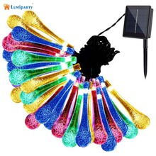 LumiParty 6.5m 30 LED Solar Christmas Lights 8 Modes Water Drop Solar Fairy String Lights for Outdoor Garden Waterproof