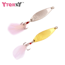 Buy 3Pcs/Lot Spinner Spoon Fishing Lure Hard Baits Metal 10g/15g/20g Sequins Noise Paillette Feather Treble Fishing Lures WQ104 for $5.10 in AliExpress store