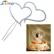 1pcs double heart cake topper silver crystal rhinestone wedding decoration selling birthday party casamento top fashion