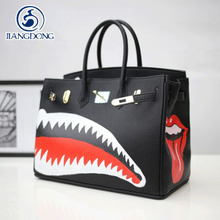 JIANGDONG Graffiti Painter Genuine Leather&Pu 35CM Gold Hardware Famous Brand Manual Drawing sharks art bags platinum tote bag(China)