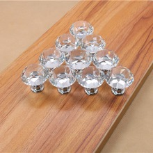10Pcs 30mm Diamond Plated Shape Crystal Glass Knob Cupboard Drawer Pull Handle New Kitchen Door Knob Furniture Accessories(China)