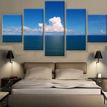5 pieces canvas art Painting For Living Room Decor Modular High Quality Pictures Wall Pictures is Blue sky and Ocean  sunrise