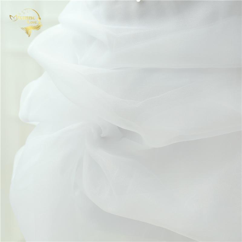Vestido De Noiva 2017 New Shiny Organza Women Bride Sweetheart Beading Front Short Back Long White Ivory Wedding Dresses OC3399 10