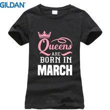 Brand Cotton Clothing Male Slim Fit T Shirt Gildan Casual Queens Are Born In Marc Crew Neck Short-Sleeve Womens Te