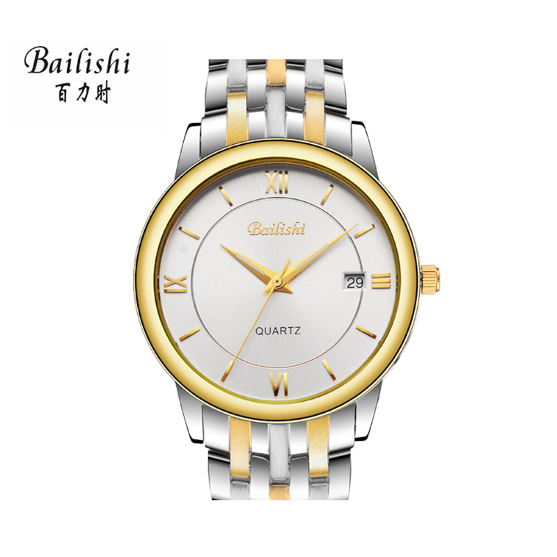 BAILISHI  gold quartz men watch silver stainless steel waterproof mens watches top brand luxury casual male watchs <br>