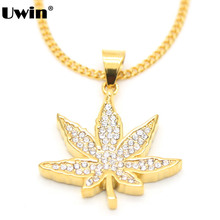Gold Color Big CZ Bling Bling Herb Leaf Charm Pendant Necklace Hiphop Rapper Style Stainless Steel Pot Leaf Weed Cuban Chain