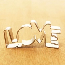 1PCS New Stainless Steel Cookie Cutter LOVE Letter Shape Forms For Biscuit Cake Mould Bakeware Pastry Baking Tools