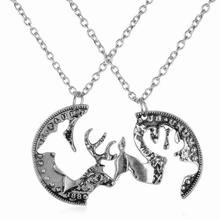 Lovers Locking Couples Pendant Coin Puzzle Necklace Retro 2Pc/Set Deer Necklaces Cool Fashion New Design Hot Friendship Lover