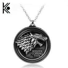 free shipping Movie necklace HBO Game of Thrones necklace House Stark Winter Is Coming Metal pendant(China)
