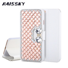 HAISSKY Luxury Bling Rhinestone Cases For iPhone 7 Plus 6 6S 6Plus 6s Plus Case Leather Wallet Flip Cover Phone Accessories