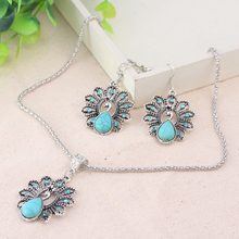 LNRRABC Bohemian Retro National Peacock  Pendant Necklace Earrings Suit Jewelry Sets For Women Party  Drop Shipping