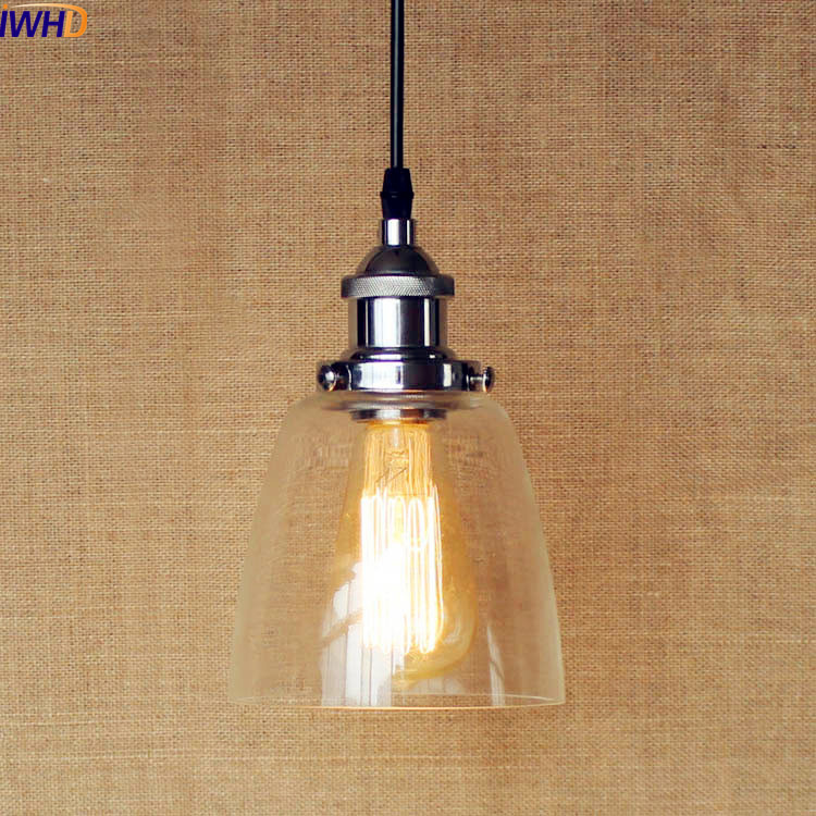 IWHD Glass Shade Edison LED Pendant Light Fixtures American Style Loft Vintage Industrial Lighting Lampara Colgante Lampe<br>