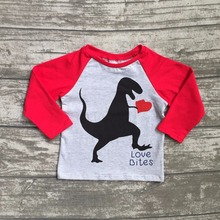 new spring Valentine's Day baby boy's Dinosaur red gray heart love heart cotton boutique cute topT-shirt reglans childen clotes(China)