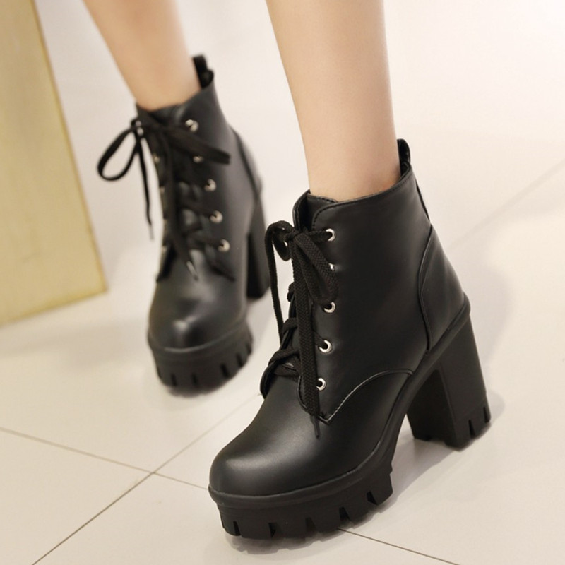 2017 Spring autume Korean style women boots square heel high heels ankle boots lace-up platform Martin boots women shoes size<br><br>Aliexpress