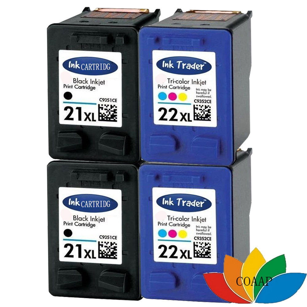4x Text Quality 21 &amp; 22 Ink Cartridge for Compatible HP21 22 for Deskjet F4180 D1311 D1360 F2180 F2280 F2290 F370 F375 F380<br><br>Aliexpress