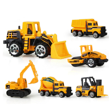 6 types Diecast mini alloy construction vehicle Engineering Car Dump-car Dump Truck Model Classic Toy Mini gift for boy(China)
